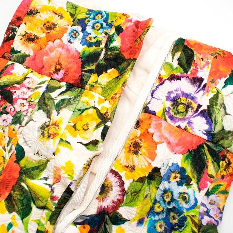 Women's Dolce & Gabbana floral-brocade strapless mini dress M 44 For Sale