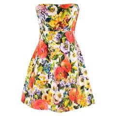Dolce & Gabbana floral-brocade strapless mini dress M 44