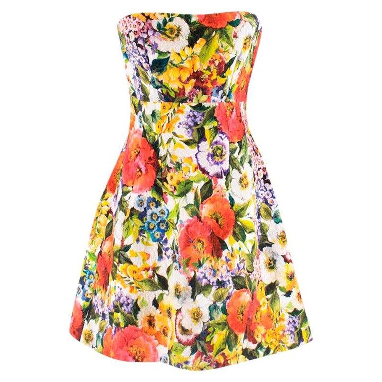 Dolce & Gabbana floral-brocade strapless mini dress M 44 For Sale