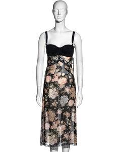 Dolce & Gabbana floral chiffon and lace evening slip dress, ss 1997