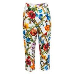 Dolce & Gabbana Floral Print Cotton Jacquard Cropped Pants M