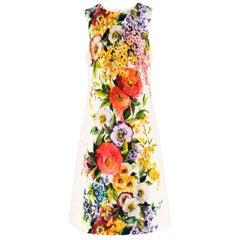Dolce & Gabbana Floral Printed Brocade Shift Dress - Size US 8