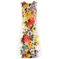 Dolce & Gabbana Floral Printed Brocade Shift Dress US 8