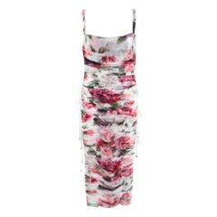Dolce & Gabbana Floral Ruched Tulle Lace-Up Dress - Us size 10