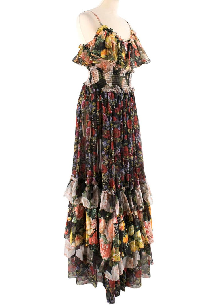 - Elasticated ruched waist  - Ruffles to skirt and straps  - Colourful bloom detail throughout   100% Silk  Made in Italy   Dry clean only  Measurements are taken with the item lying flat, seam to seam. Shoulder To Shoulder: 34cm Pit To Pit: 35cm