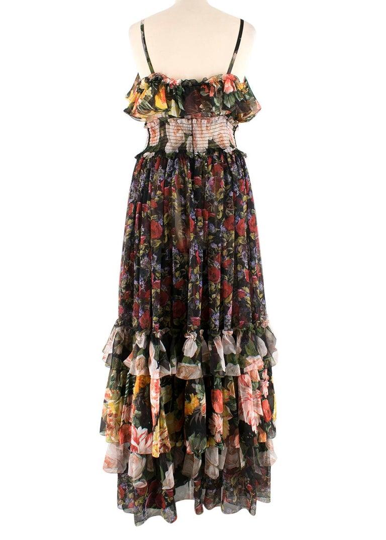 Black Dolce & Gabbana Floral Silk Chiffon Tiered Dress - US8 / IT44 For Sale