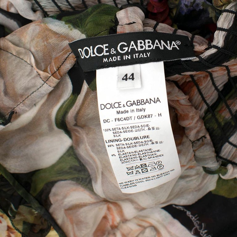 Dolce & Gabbana Floral Silk Chiffon Tiered Dress - US8 / IT44 In New Condition For Sale In London, GB