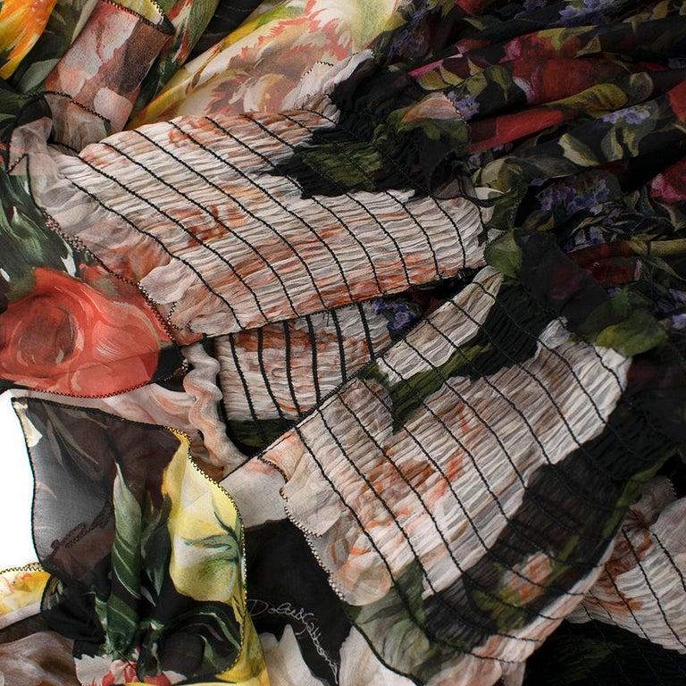 Women's Dolce & Gabbana Floral Silk Chiffon Tiered Dress - US8 / IT44 For Sale