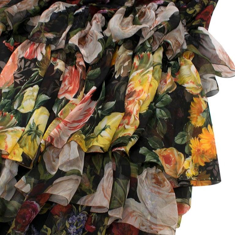 Dolce & Gabbana Floral Silk Chiffon Tiered Dress - US8 / IT44 For Sale 2