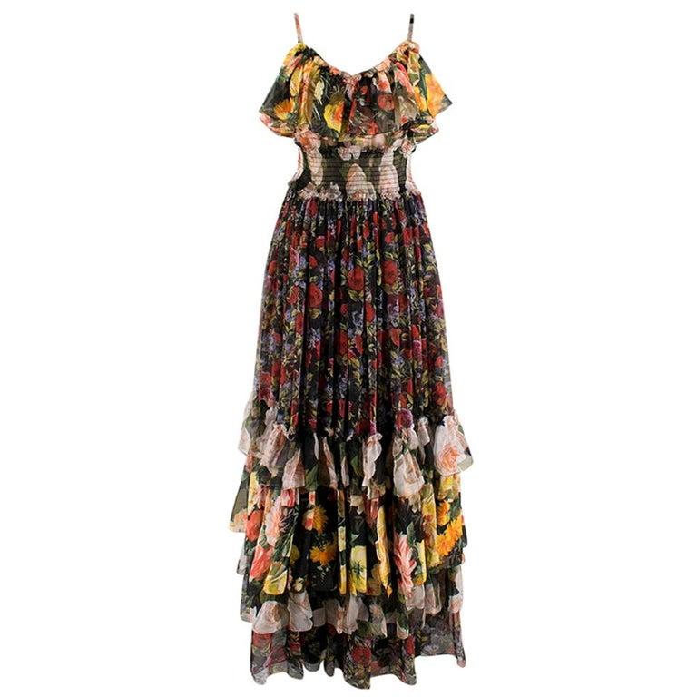 Dolce & Gabbana Floral Silk Chiffon Tiered Dress - US8 / IT44 For Sale