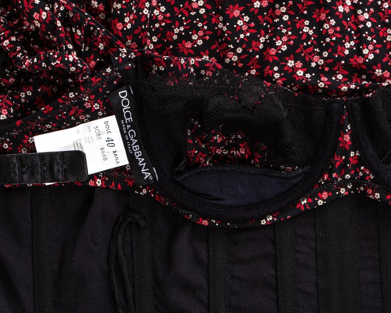 Dolce & Gabbana floral silk corset puff sleeve blouse, fw 2001 For Sale 4