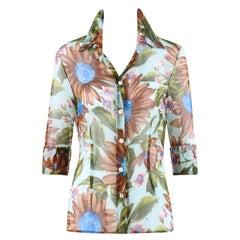 DOLCE & GABBANA Floral Sunflower Daisy Silk Chiffon Button Front Blouse Shirt
