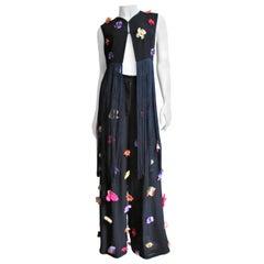 Dolce & Gabbana Flower Applique Pants and Fringe Trim Top