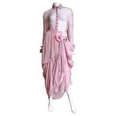 Dolce & Gabbana Flower Applique Silk Drape Skirt and  Shirt