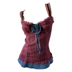 Dolce & Gabbana for D&G Fringed Tweed Corset Top with Denim Trim
