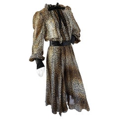 Dolce & Gabbana for D&G Sheer Silk Leopard Print Vintage Cocktail Dress