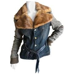 Dolce & Gabbana for D&G Vintage Belted Denim Jacket with Detachable Mink Collar