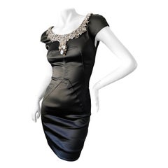 Dolce & Gabbana for D&G Vintage Black Cocktail Dress w Gobsmacking Jewel Collar
