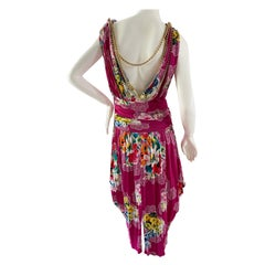 Dolce & Gabbana for D&G Vintage Floral Dress with Draped Gold Chain Details 48