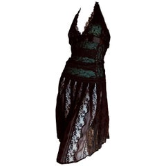 Dolce & Gabbana for D&G Vintage Sheer Black and Green Lace Cocktail Dress