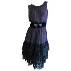 Dolce & Gabbana for D&G Vintage Sheer Tiered Silk Lace Dress with Pearl Accents