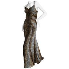 Dolce & Gabbana for D&G Vintage Silk Leopard Print Evening Gown