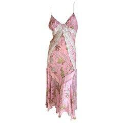 Dolce & Gabbana for D&G Vintage Silk Pink Lace Trim Dress