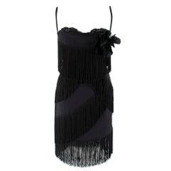 Dolce & Gabbana Fringed Silk Corseted Lace Trim Dress - Size US 6