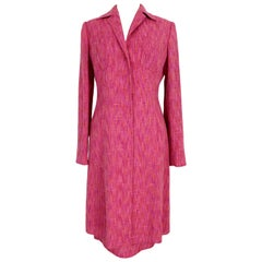 Dolce Gabbana Fuchsia and Orange Wool Silk Skirt Suit Dress Coat 1990s Floral