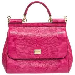 Dolce & Gabbana Fuchsia Iguana Embossed Leather Medium Miss Sicily Bag