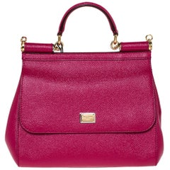 Dolce & Gabbana Fuchsia Leather Medium Miss Sicily Bag