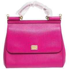 Dolce & Gabbana Fuchsia Leather Miss Sicily Bag
