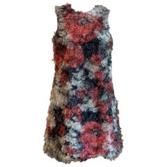 Dolce & Gabbana Fuzzy Red and Black Floral Fringe Sleeveless A-Line Shift Dress