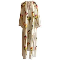 Dolce & Gabbana Gelato Ice Cream Print White Silk Maxi Kaftan Dress Long Sleeve
