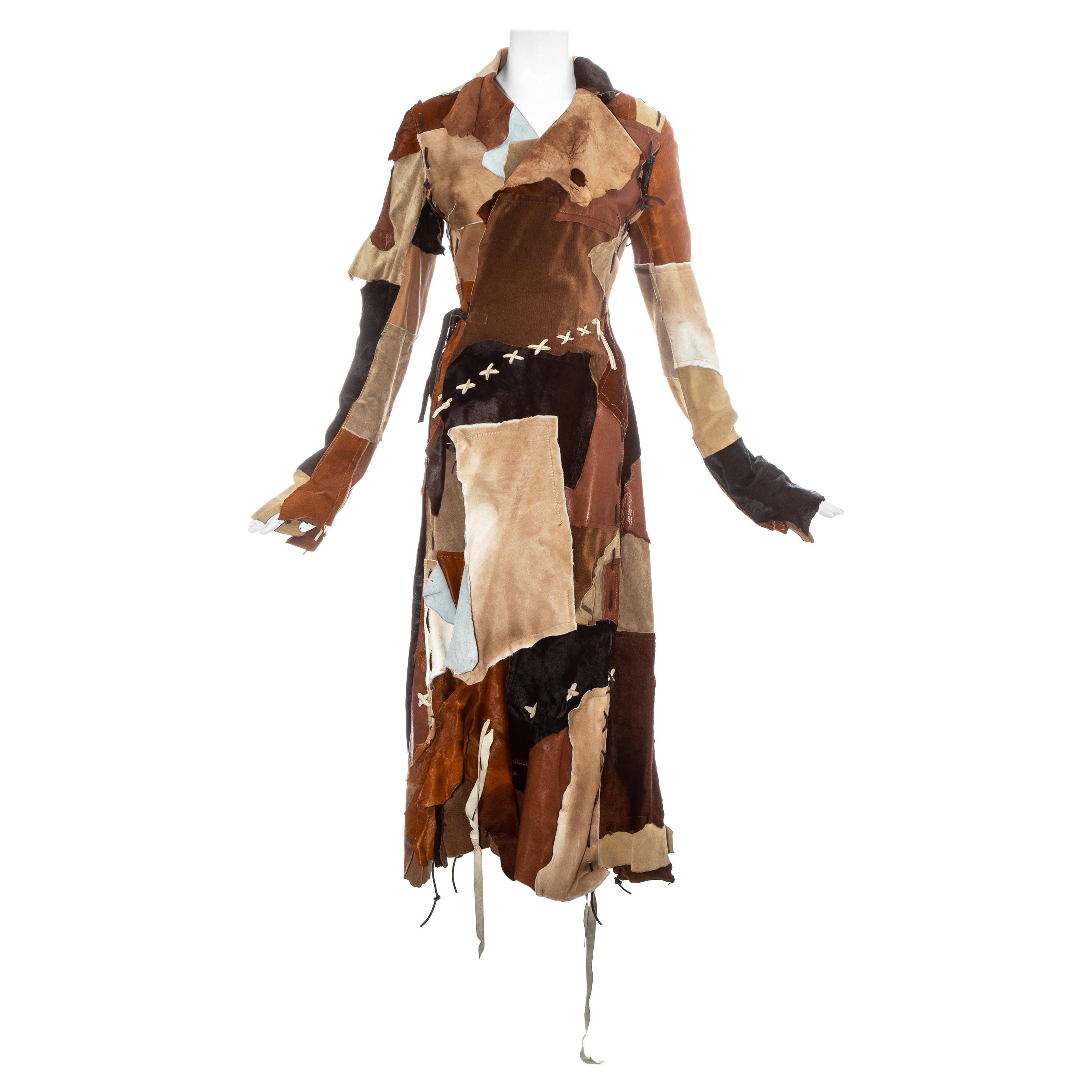 Dolce & Gabbana goat hide and leather patchwork wrap coat, fw 2002