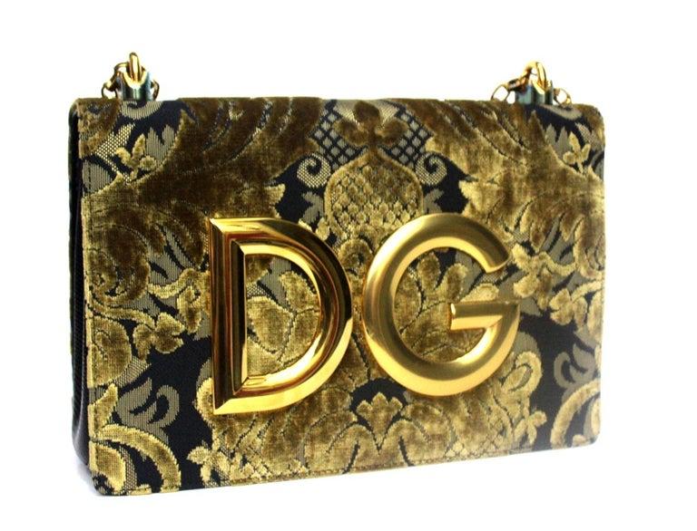 Brown Dolce & Gabbana Gold/Black Damask Girls Bag For Sale