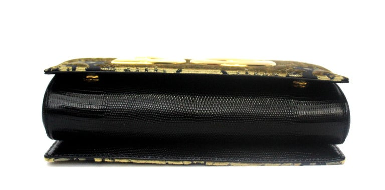 Dolce & Gabbana Gold/Black Damask Girls Bag In Excellent Condition For Sale In Torre Del Greco, IT