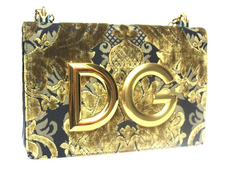 Dolce & Gabbana Gold/Black Damask Girls Bag For Sale 2