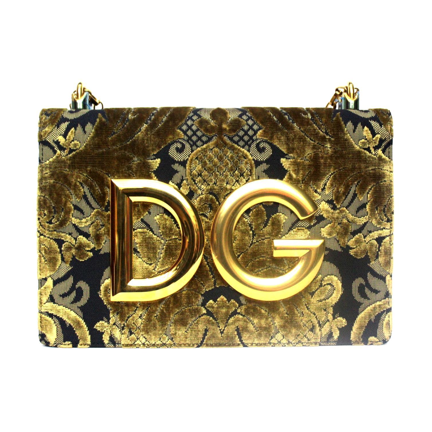 Dolce & Gabbana Gold/Black Damask Girls Bag