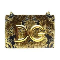 Dolce & Gabbana Gold/Black Damask Girls Bag