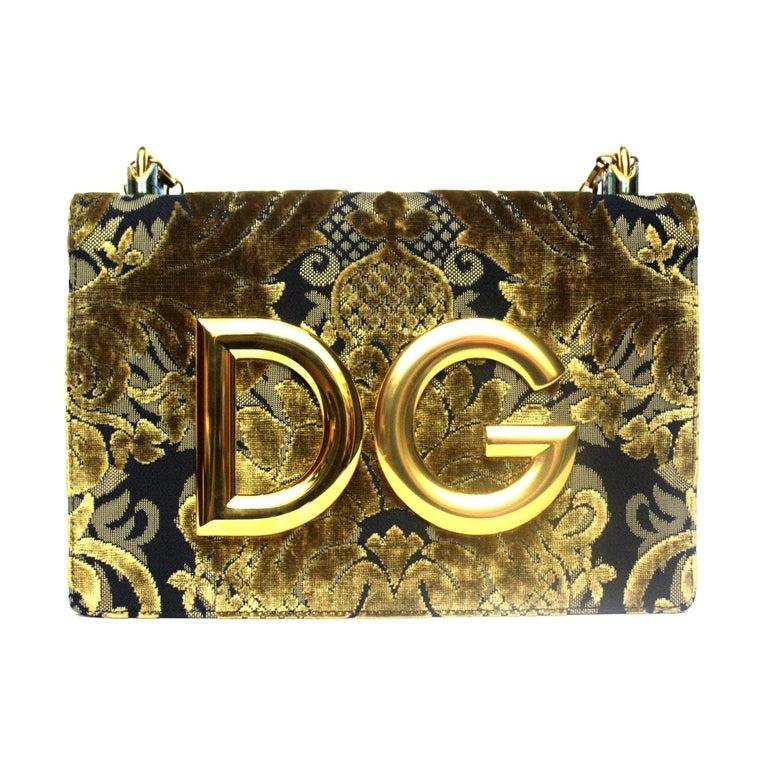 Dolce & Gabbana Gold/Black Damask Girls Bag For Sale