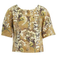 DOLCE GABBANA gold blossom floral brocade cystal button cropped jacket IT40 S