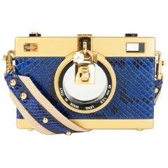 DOLCE & GABBANA gold & blue PYTHON CAMERA CASE Shoulder Bag