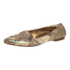 Dolce & Gabbana Gold Brocade Smoking Slippers Size 38