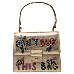 Dolce & Gabbana Gold Embellished Leather Rosalia Top Handle Bag