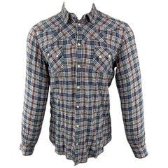 DOLCE & GABBANA Gold Fit Size S Navy & Burgundy Plaid Snaps Long Sleeve  Shirt