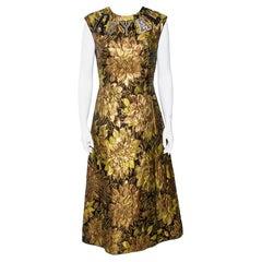 Dolce & Gabbana Gold Floral Jacquard Royal Embellished Midi Dress M