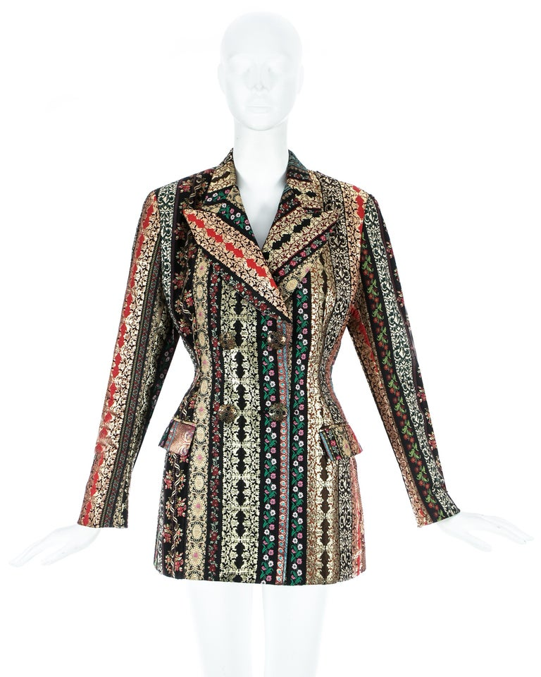 Dolce & Gabbana, gold lame brocade double breasted evening blazer jacket with metal antique style buttons, accentuated waist and large peak lapels.  Spring-Summer 1993