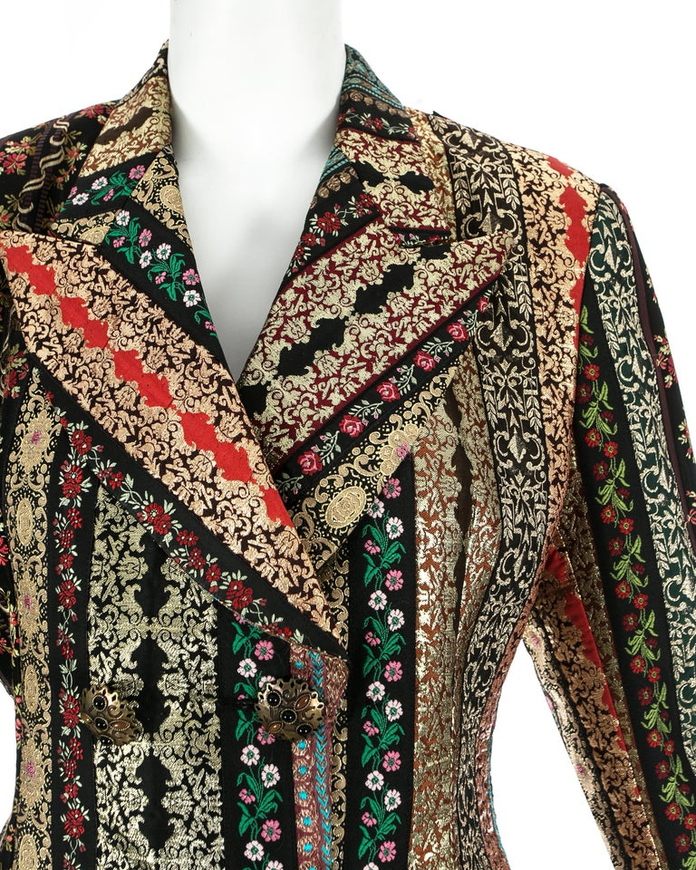 Women's Dolce & Gabbana gold lame brocade double breasted evening blazer, ss 1993 For Sale