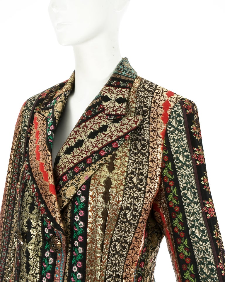 Dolce & Gabbana gold lame brocade double breasted evening blazer, ss 1993 For Sale 2